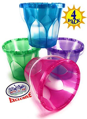 Mattys Toy Stop Beach Gear 65 Opaque Plastic Sand Buckets Pails Blue Pink Green Purple Party Set Bundle - 4 Pack