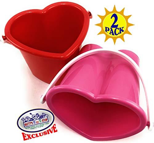 Mattys Toy Stop Beach Gear 6 Plastic Heart Shape Sand Buckets Pails Red Pink Party Set Bundle - 2 Pack