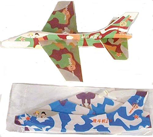 24 Piece Bulk Lot of Camouflaged Styrofoam Military Toy Jet Airplane Flying Glider