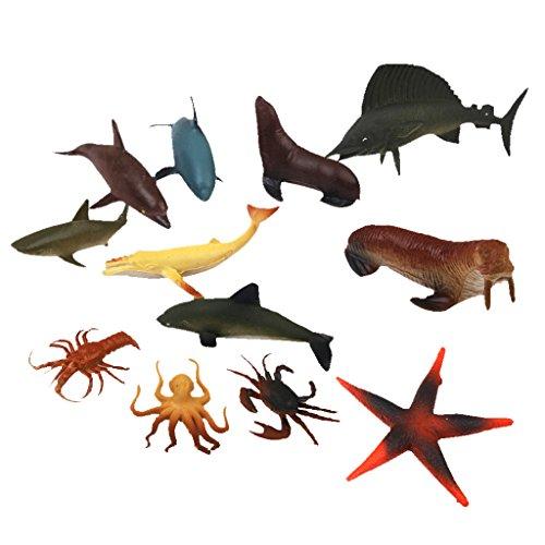Generic Plastic PVC Marine Animals Model Nature Gift Kids Toy 12pcs Desk Decor Multi-color