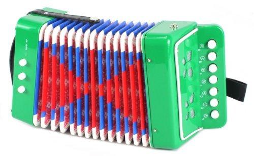 Mini Musician Pro Toy Accordion Childrens Instrument w 7 Treble Keys 3 Air Valves Hand Strap Green by Mini Musician