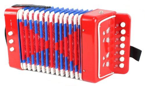 Mini Musician Pro Toy Accordion Childrens Instrument w 7 Treble Keys 3 Air Valves Hand Strap Red