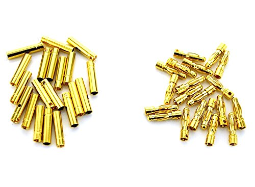 RipaFire 20 Pairs 4mm Gold Tone Male Female Bullet Banana Plug Connector for RC Battery ESC Motor