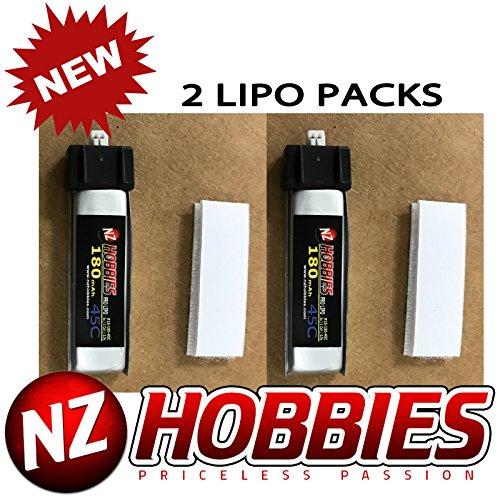 2 Packs NZHOBBIES 37 volt - 180mAh 45C Lipos for Blade mCX mCX2 mSR mSR X Nano QX Nano CPX Inductrix and UMX AS3Xtra