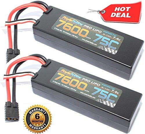 PowerHobby 2S 74V 7600mAh 75C Lipo Battery 2 Pack w Traxxas Plug Hard Case 2 Fits  Slash 2WD  4X4 Stampede Rustler Spartan M41 E-Maxx E-Revo Brushless VXL