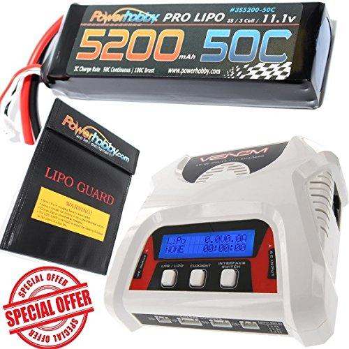 PowerHobby 3S 111V 5200mAh 50C Lipo Battery w Lipo Charger Bag Traxxas Plugs