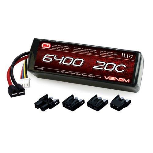 Venom 20C 3S 6400mAh 111V LiPo Battery with Universal Plug EC3DeansTraxxasTamiya
