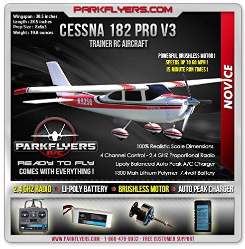 The Cessna 182 Pro Series V3 Electric RTF RC Plane w 24 Radio