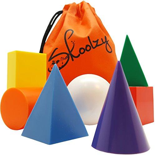 Skoolzy Geometric Shapes Montessori Toys - 7 Jumbo 3D Geometric Solids Preschool Learning Toys - Math Manipulatives Geometry Set Geo Blocks for Kids  Elementary Homeschool Supplies  Tote eBook