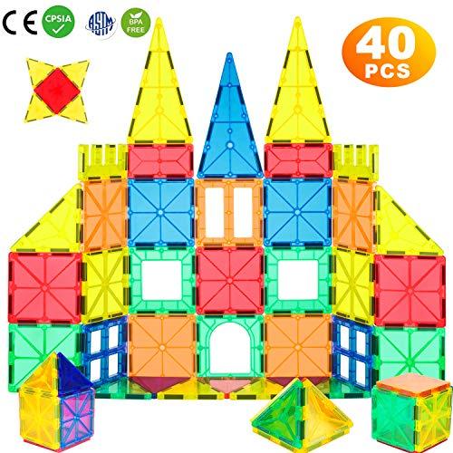 WHIRLT Magnetic Blocks 40 PCS Magnetic Tiles Building Blocks Toys Set for Kids Preschool Educational Magnet Construction Magnetic Toys for Boys Girls Age 3 4 5 6 7 8 Year Old