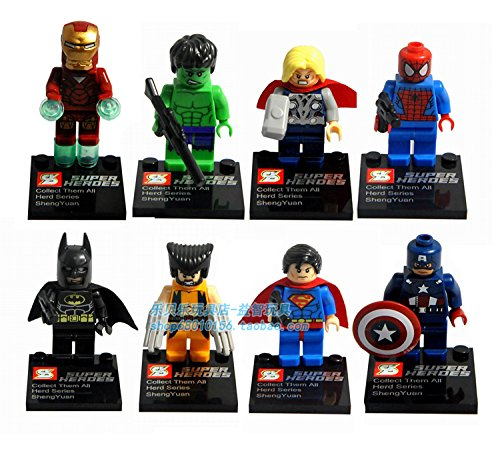 8pcslot Super Hero Figures the Avengers Iron Man Hulk Batman Wolverine Building Blocks Sets Classic Toys Compatible with Lego