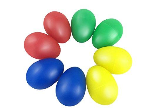 TSLIKANDOTM 8pcs Playful Plastic Percussion Musical Egg Maracas Egg Shakers Kids Toys- 4 Different Colors