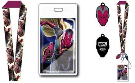 Marvel Comics Avengers 2 Age Of Ultron Vision Lanyard with Soft Dangle Charm and Card Holder with Gift Box by Marvel Comics Toy Biz