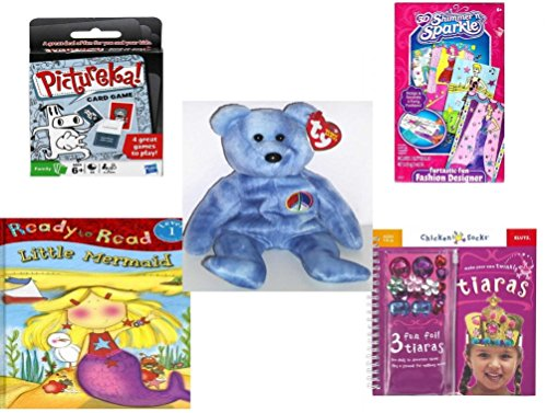 Girls Gift Bundle - Ages 6-12 5 Piece - Hasbro Games PICTUREKA Card Game - Cra-Z-Art 3D Shimmer n Sparkle Furtastic Fun Fashion Designer Toy - Ty Beanie Babies Peace The Bear - Ready To Read Lev