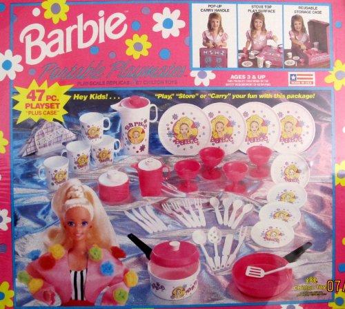 BARBIE Portable Playmates 47 Piece DISHES Playset w CARRY CASE COOKWARE TEA Set UTENSILS More 1991 ChiltonMattel