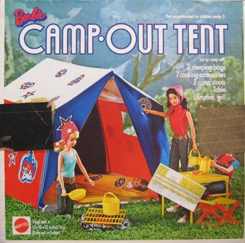 Barbie CAMP OUT TENT 13 Piece Playset 1972 Mattel Hawthorne