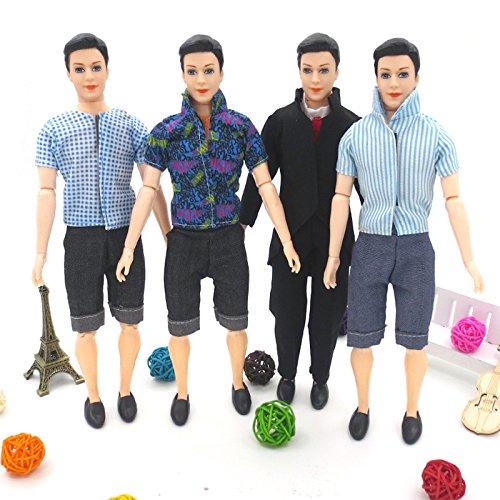 Lanlan 5pcs Men Formalwear Trendy Business Casual Set for Barbie Boy Friend Ken Doll Clothes Shoes Doll House Accessories Kids Gift