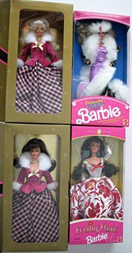 Vintage Mattel Barbies Set of 4 - Winter Rhapsody Brunette Winter Rhapsody Blonde Enchanted Evening Barbie and Evening Flame Barbie