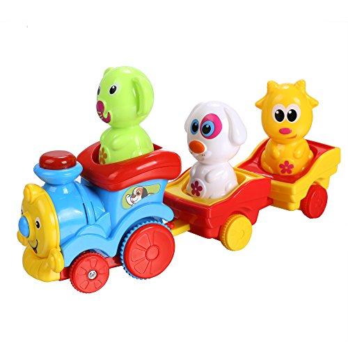 Arshiner Toddler Puppys Music Light Cartoon Animal Train Toys