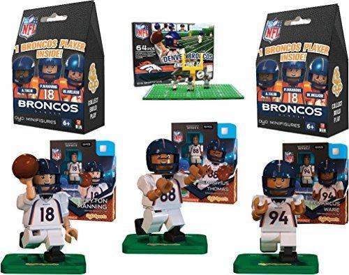 Oyo Sports - NFL Bundle Pack - Denver Brocos Set 1 Peyton Manning Demaryius Thomas DeMarcus Ware and Broncos End Zone Set - plus Two FREE Blind Packs