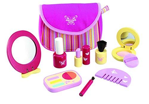 Wonderworld Pretend Pinky Cosmetic Girl Toy Set - 9 Piece Wooden Essential Makeup Set