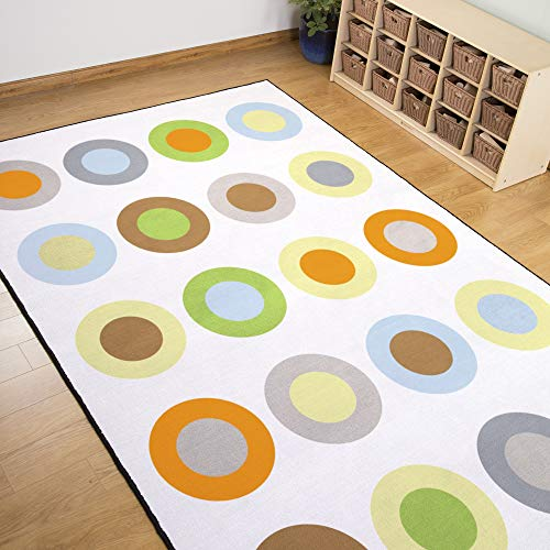 Guidecraft Contemporary Circles Seating Carpet 6 x 9 ft Kids Educational Learning Game Area Rug Carpet Soft Rug for Children Bedrooms and Playroom