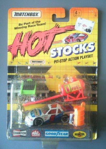 MATCHBOX 1992 Hot Stocks Pit Stop Action Playset Set 6 - 1 Matchbox Racing