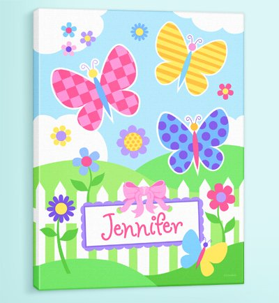 Olive Kids - Butterfly Garden Personalized Canvas Art