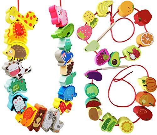 BM TOYS Wooden Farm Animal Fruit Vegetable String Lacing Beads Montessori Toddlers Preschool Boy Girl Toys