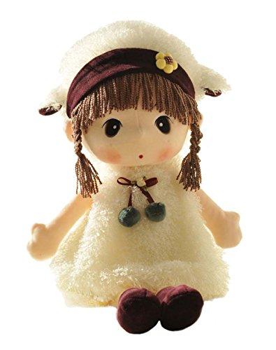 HWD Lovely Huggable 17 inch Stuffed Plush Girl Toy DollGood Gift For kids baby loverWhite