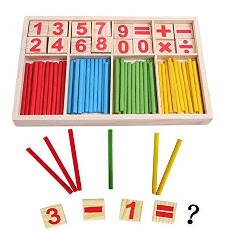 Kids Preschool Educational Toy Wooden Math Manipulatives Counting Sticks