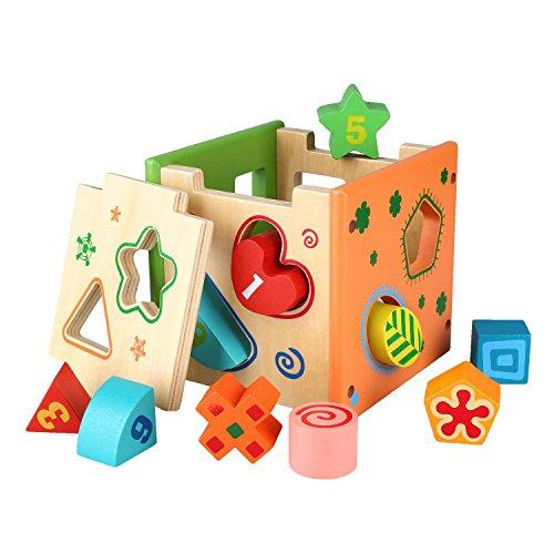 Peradix Wooden Shape Sorter Preschool Educational Toy Color Shape Recognition Intelligence Toys Bricks