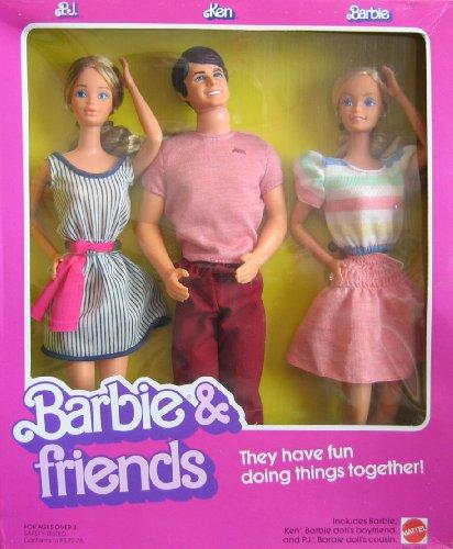 Vintage Barbie Friends Doll Set w PJ Ken Barbie Dolls 1982 Mattel Hawthorne