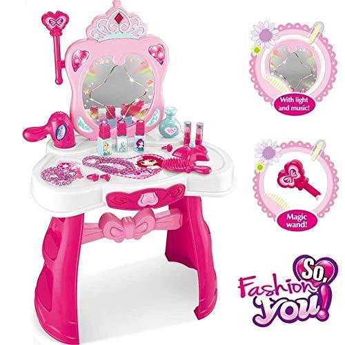 OB Toys&Gift Princess Vanity Table Set Girls Pretend Play Set Beauty Dresser Make Up Vanity Play Set Toy w Music  Light Accessories