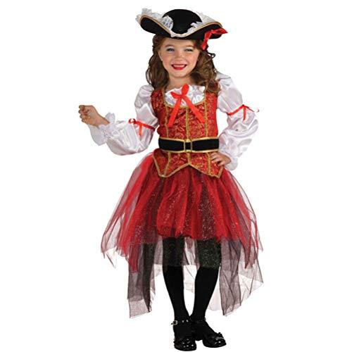 Amosfun 4pcs Kids Pirate Costume Set Girls Pirate Skirt for Halloween Party Size XL 125cm-135cm