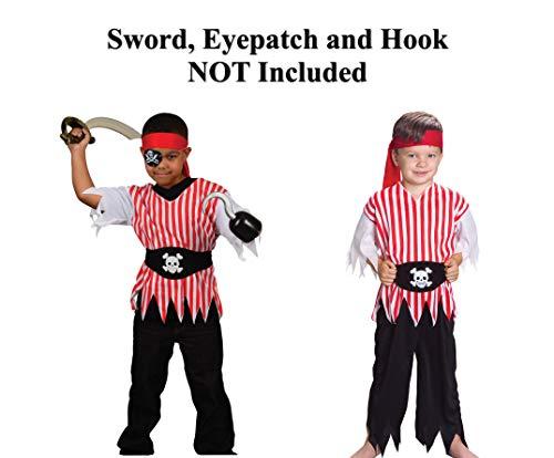 GiftExpress Pirate Costume Kids Pirate Costume Boys Includes Belt Pirate Bandana Pirate Pants and Pirate Shirt