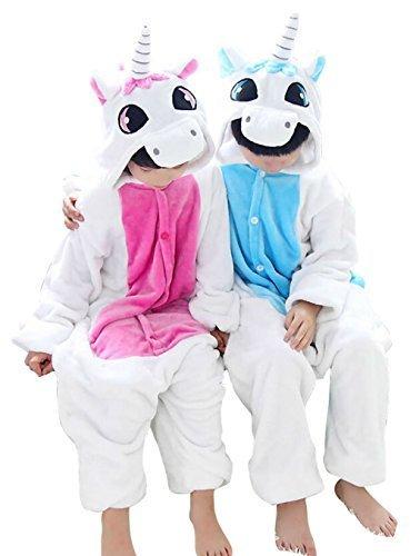Tjia Winter Kid Cosplay Unicorn Flannel Animal Pajamas S 45- 49 blue by TJIA