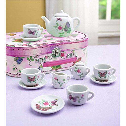 12 Piece Butterfly Pretend Play Ceramic Tea Set