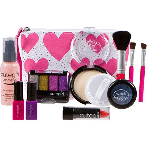 Cutegirl Cosmetics Pretend Play Makeup Kit Designer Girls Hearts Essential Bag Set