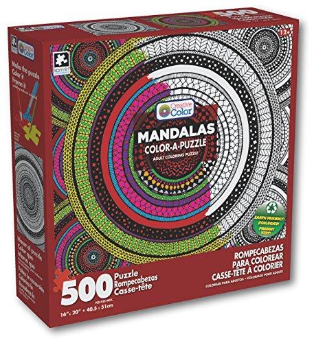 Karmin International Color a Puzzle - Mandalas Meditation Circle Design Puzzle 500 Piece