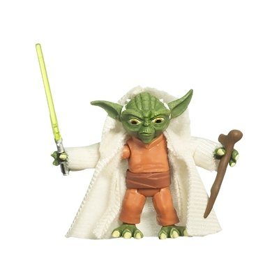 Star Wars 2009 Clone Wars Animated Action Figure Yoda with Cloth Robe