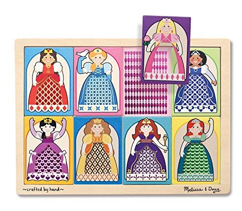 Melissa Doug Princesses Peek-Through Pattern Wooden Puzzle 8 pcs