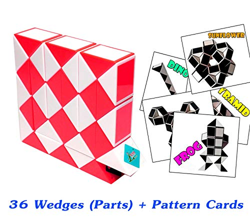 New Creative Toys Rubik Snake Twist Puzzle 36 Parts Wedges Red and White Color with Pattern Cards Standard Size 13 inch for Each Part