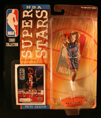 1998 - Mattel - NBA Court Collection - NBA Super Stars Series - Charles Barkely 4 - Houston Rockets - Vintage Action Figure - W Upper Deck Trading Card - Limited Edition - Collectible