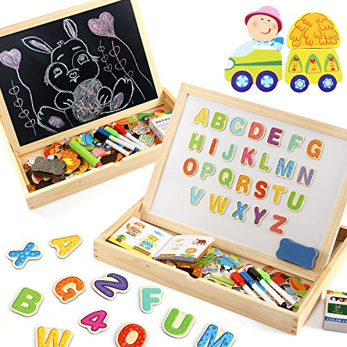 Lewo Wooden Large Educational Toys Magnetic Letters Numbers Animals Learning Puzzle Games Drawing Board with Writing Drawing Doodle Side Dry Erase Board for Kids Puzzle Game