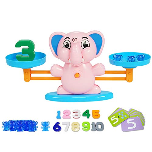 nago0 Balance Math Game - Elephant Number Fun Learning Puzzle Game DIY Toy Counting Pre-School Educational for Toddlers Children