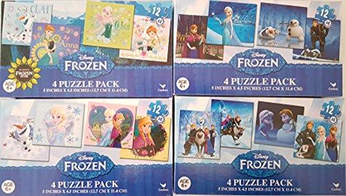 Disney Frozen 4 Puzzle Packs with 12 Pieces Each ~ Set of 4 Packs ~ 16 Puzzles