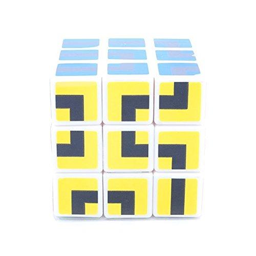 maru 3x3x3 Maze Cube 6 Colors Sticker Mod White Body Puzzle Toy