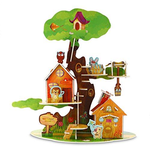 3D Puzzle Jigsaw Educational Brain Teaser Treehouse Assemble Puzzle Toys For Child 45 Pieces
