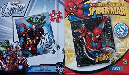 Lot of 2 Spiderman Avengers Assemble Puzzle Pack 100 pieces each